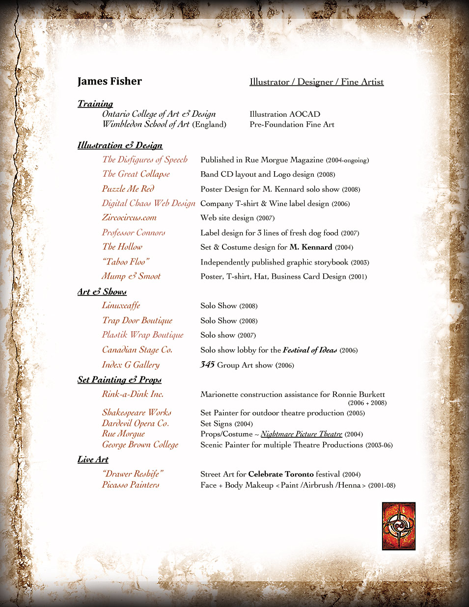 Zirco Circus - Art Resume of James Fisher